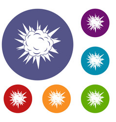 Terrible explosion icons set vector