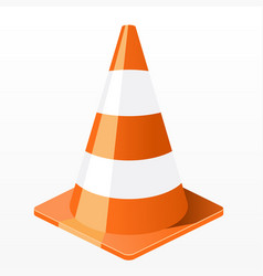 traffic cone icon - repair work plastic barrier vector image