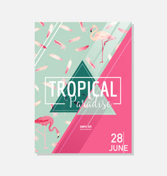 Tropical flowers and flamingo bird summer graphic vector