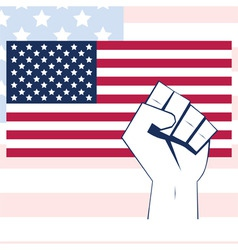 usa flag vector with fist independence background vector image