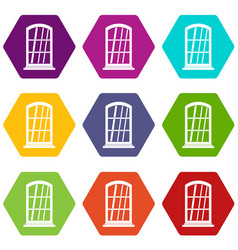 white narrow window icon set color hexahedron vector image