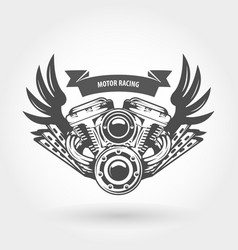 winged motorcycle engine emblem - chopper bike vector image