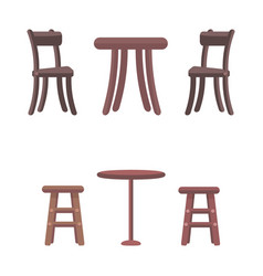 Wooden chairs and round tables isolated on white vector