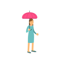 young woman standing under pink umbrella vector image