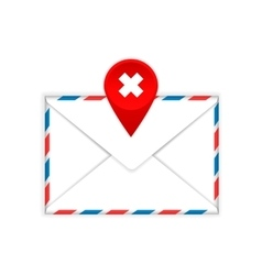 Envelope with a red cross mark flat icon vector image vector image