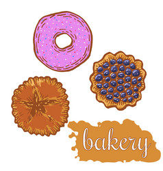 hand drawn decorative bakery template vector image vector image