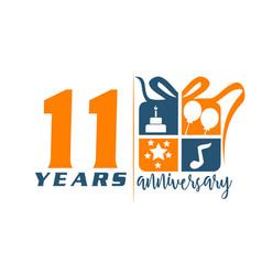 11 years gift box ribbon anniversary vector