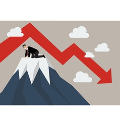 Businessman stuck on a top hill vector image vector image