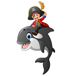 cartoon pirate ride whale vector image