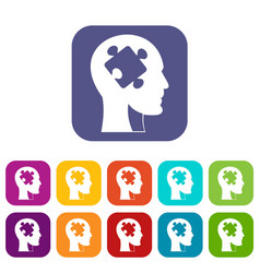 Head with puzzle icons set flat vector