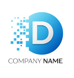 realistic letter d logo in colorful circle vector image