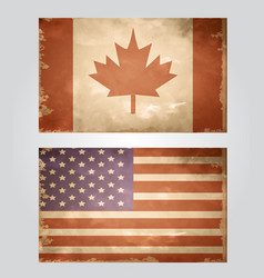 set of grunge flags usa and canada vector image vector image