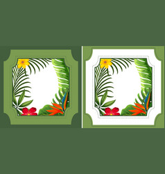 two frame designs with green leaves and flowers vector image vector image