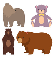 different style bears funny happy animals cartoon vector image vector image