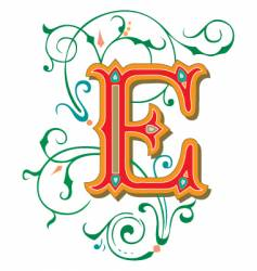 floral letter e vector image vector image