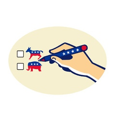 Hand Holding Pen Voting American Election vector image vector image