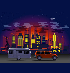 travelling car in modern city with night vector image vector image