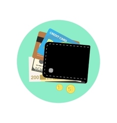 Black wallet with some money credit cards and vector image vector image