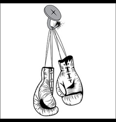 Boxing gloves hang with laces nailed to wall vector image