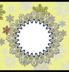Christmas frame on snow background vector image vector image