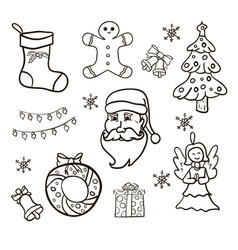 christmas set hand drawn vector image