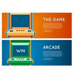 flat retro game machine banner set vector image