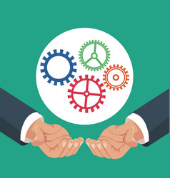 hands holding gears work vector image