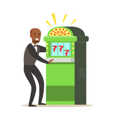 happy man is playing slot machine jackpot vector image vector image