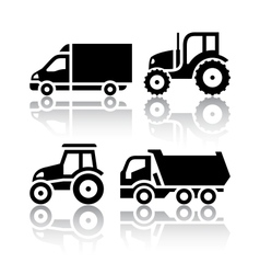 Set of transport icons - Tractor and Tipper vector image vector image