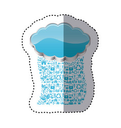 sticker realistic 3d shape cloud storage with rain vector image