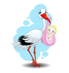 stork brings the child vector image