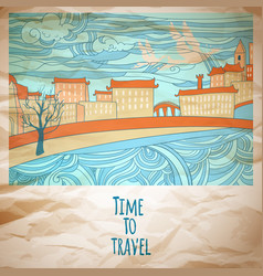 time to travel abstract drawing card vector image vector image