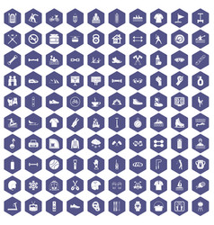 100 sport life icons hexagon purple vector