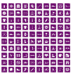 100 sport life icons set grunge purple vector image