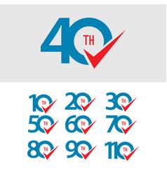 40 th anniversary set 10 20 30 50 60 70 80 90 110 vector