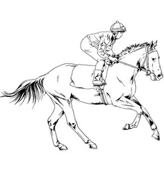 a galloping horse painted with ink hand vector image