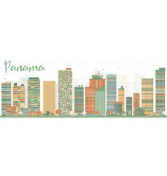 Abstract Panama Skyline with Color Buildings vector
