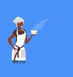 African american saleswoman or waitress wearing vector