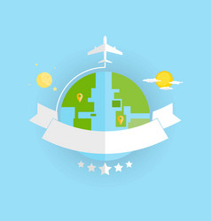 around the world travelling by plane flat icon vector image