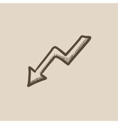 Arrow downward sketch icon vector