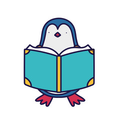 back to school education cute penguin reading book vector image
