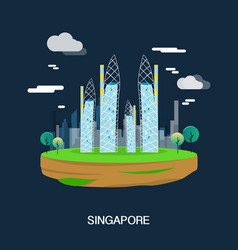 beautiful buildings in singapore design vector image