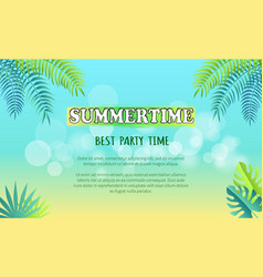 best summertime party promo poster with palms vector image