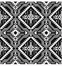 black and white ethnic geometric seamless pattern vector image