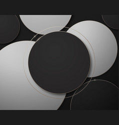 black white and gold abstract circle geometric vector image