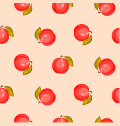 Bright ripe peach fruit seamless pattern vector