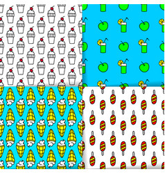 Bright summer seamless patterns neon colors vector