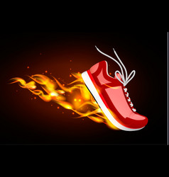Burning red sneaker in dynamics vector