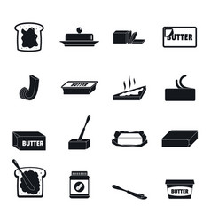 butter curl block icons set simple style vector image