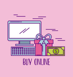 buy online computer device gift box and money vector image